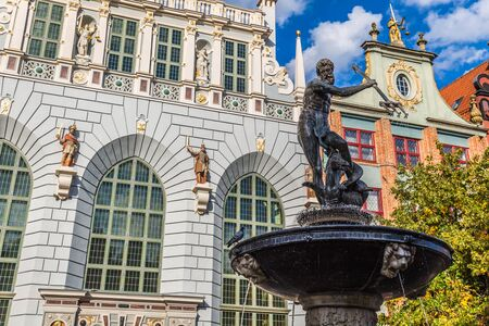 neptun: Fountain of the Neptune in old town of Gdansk, Poland Stock Photo