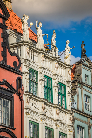 Beautiful architecture of the old town of Gdansk, Poland.
