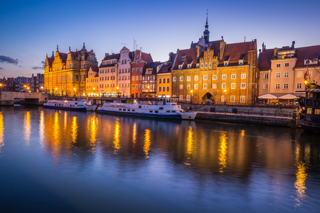 Gdansk,Poland-September 19,2015:The old town in Gdansk at dusk