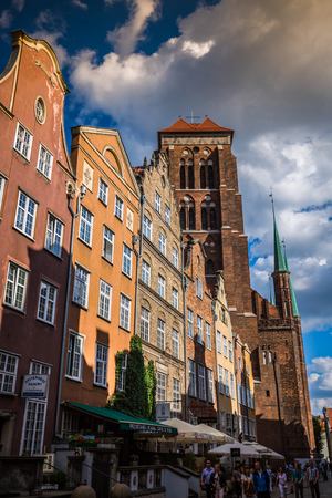 neighbour: Gdansk, Poland- September 19,2015:Colorful houses - tenements in old town Gdansk, Poland