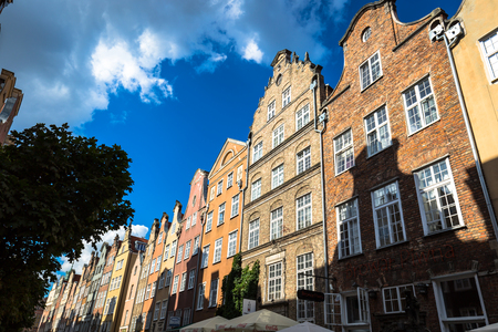 Gdansk, Poland- September 19,2015:Colorful houses - tenements in old town Gdansk, Poland