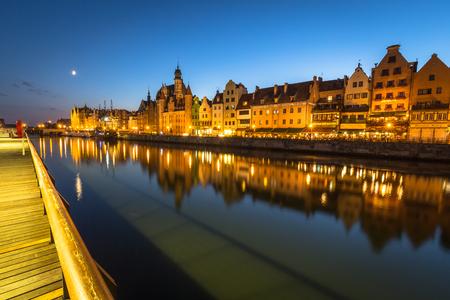 tenement: Gdansk,Poland-September 19,2015:The old town in Gdansk at dusk