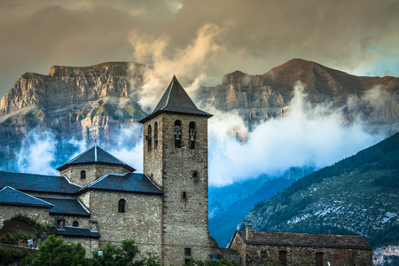Torla town in Ordesa National park in the spanish pyrenees.