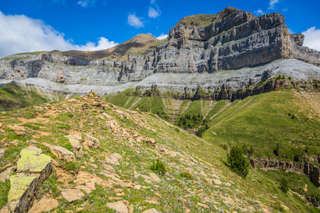 Mountains in the Pyrenees, Ordesa Valley National Park, Aragon, Huesca, Spain.