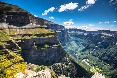 ordesa: Canyon in Ordesa National Park, Pyrenees, Huesca, Aragon, Spain Stock Photo