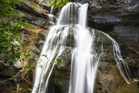aragon: Cascada de la Cueva waterfall in Ordesa valley Pyrenees Huesca Spain Arazas river Stock Photo