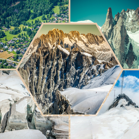 Collage of Chamonix Mont Blanc, France Stock Photo