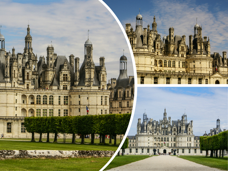 Collage of Chambord Castle, France Stock Photo