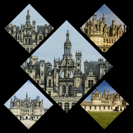 the loire: Collage of Chambord Castle, France Stock Photo