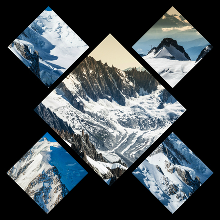 aiguille: Collage of Chamonix Mont Blanc, France Stock Photo