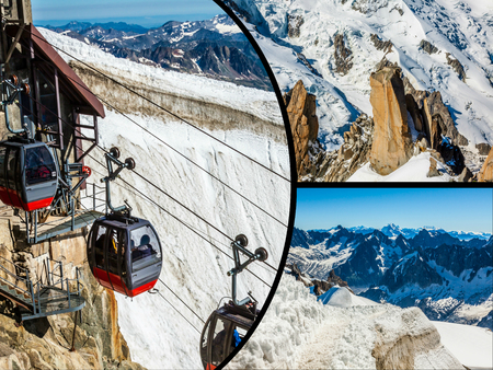 Collage of Chamonix Mont Blanc, France Stock Photo