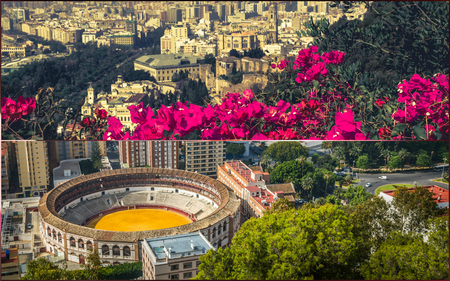 Collage of of Malaga with bullring and harbor. spain