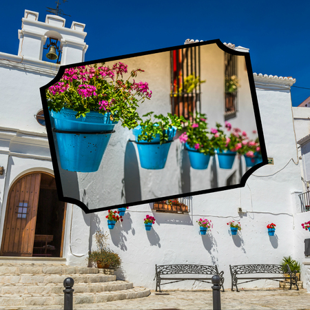 pueblo: Collage of Mijas with flower pots in facades. Andalusian white village. Costa del Sol Stock Photo