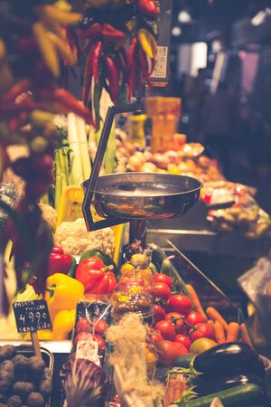 Barcelona, La Boqueria A covered market for fish, meat, vegetables, fruits and foods of all kinds Stock Photo