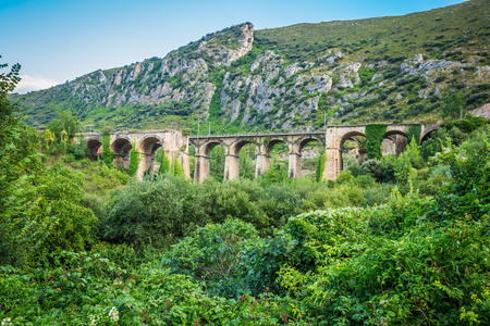 Old railway bridge viaduct in the Spain Stock Photo