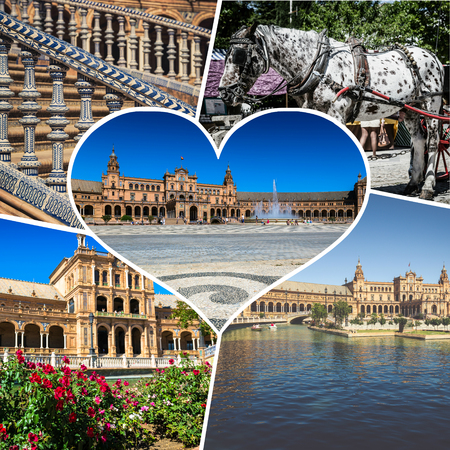 seville: Collage of Cathedral La Giralda at Sevilla Spain - architecture Stock Photo