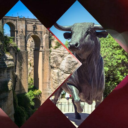 Collage of  Ronda, Spain at Puente Nuevo Bridge.
