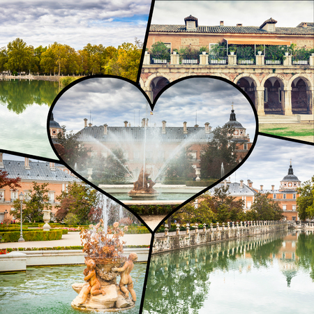 Collage of Royal Palace of Aranjuez, Madrid, Spain