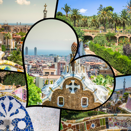 Collage of Park Guell in Barcelona, Spain