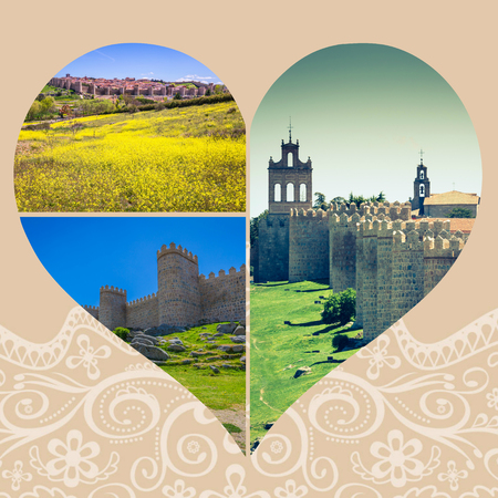 Collage of Medieval city walls of Avila, Spain