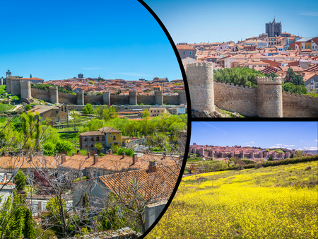 architecture monumental: Collage of Medieval city walls of Avila, Spain