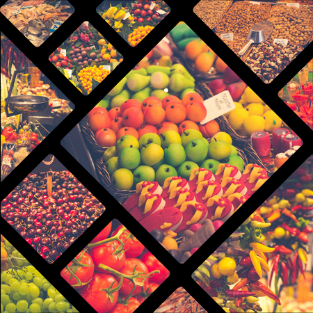Collage of Indoor grocery market in Barcelona, ??Spain.