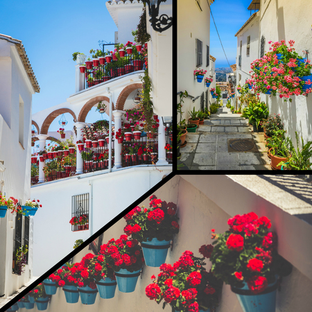 faade: Collage of Picturesque street of Mijas with flower pots in facades. Andalusian white village.