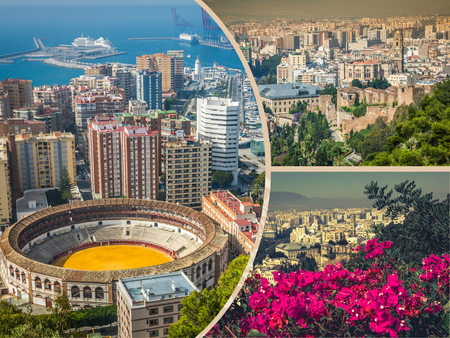Collage of Panoramic view of the harbor and the bullring Malaga Spain