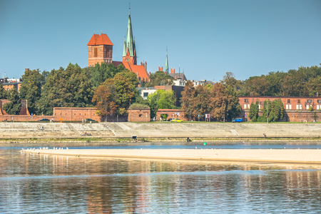 View on Torun old town over Vistula river, Poland Stock Photo