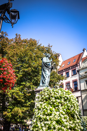 Torun,Poland-September 11,2016: monument to astronomer, Nicolaus Copernicus,Poland