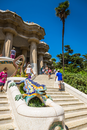 Barcelona,Spain-August 8,2014:The famous park Guell in Barcelona, Spain