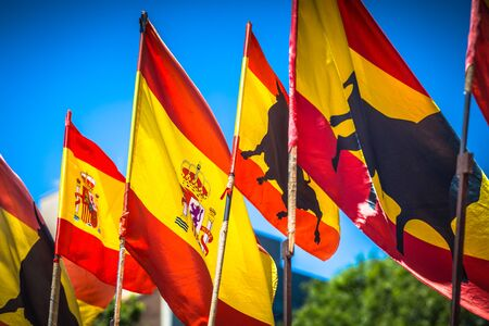 Spanish national official flags. Patriotic symbol Stock Photo