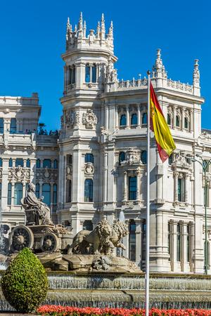 plaza de la cibeles: Plaza de la Cibeles (Cybeles Square) - Central Post Office (Palacio de Comunicaciones), Madrid, Spain. Foto de archivo