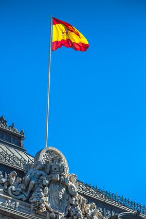Spanish national flag. in Madrid, Spain Stock Photo