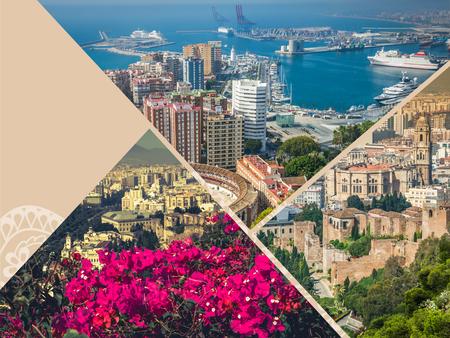 corrida de toros: Collage de Vista panorámica del puerto y la plaza de toros de Málaga, España Foto de archivo