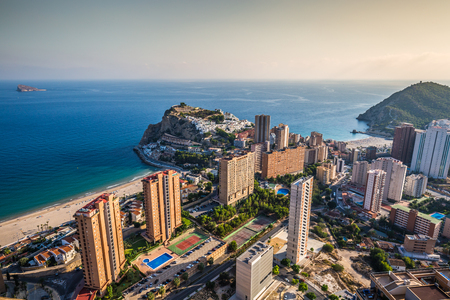 Benidorm levante beach aerial view in alicante Spain Stock Photo