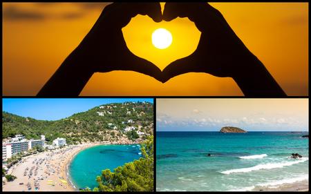 Collage of island Ibiza, Spain.