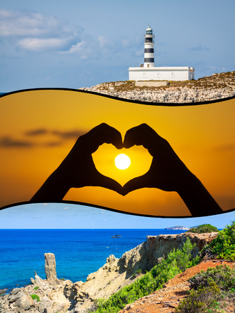 isles: Collage of island Ibiza, Spain.