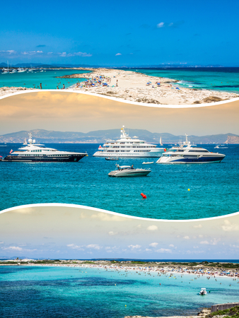touristy: Collage of island of Formentera, Spain. Europe.