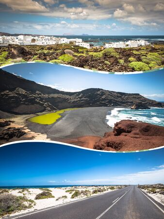 Collage of island Lanzarote, Spain. Europe. Stock Photo