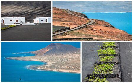 Collage of island Lanzarote, Spain. Europe. Stock Photo