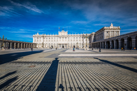 Royal Palace of Madrid is the official residence of the Spanish Royal Family at the city of Madrid, Spain Editorial