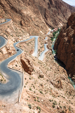 Winding road in Dades Valley, Morocco, Africa Stock fotó
