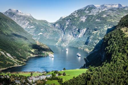 Geiranger fjord panoramic view,Norway