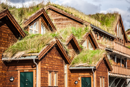 Typical norwegian house with grass on the roof Stock Photo
