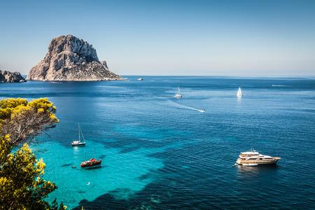 Beautiful view in Cala dHort, Ibiza (Spain)