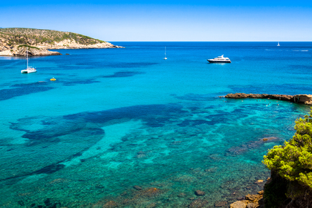 View of the beautiful bay in Balearic Islands, San Miguel, Ibiza, Spain