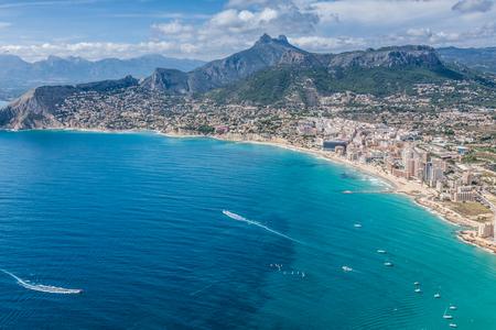 Coastline of Mediterranean Resort Calpe, Spain with Sea and Lake 版權商用圖片