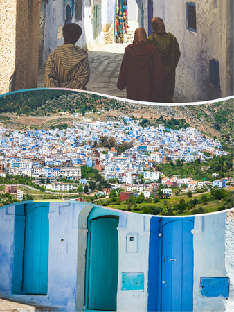 Collage of the streets in Chefchaouen in Morocco.