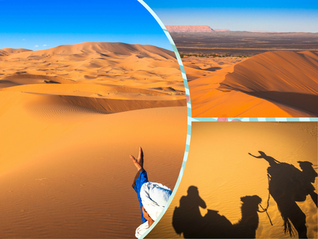 Collage of sand dunes in Merzouga, Morocco Africa.